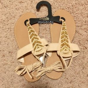 Charlotte Russe Beaded Lace-Up Thong Sandals